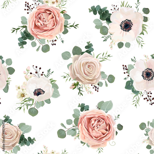 Seamless pattern Vector floral watercolor style design garden powder white pink Anemone flower silver Eucalyptus branch green thyme wax flowers greenery leaves berry. Rustic romantic background print - 187901458