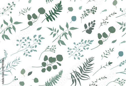 Seamless Pattern Of Eucalyptus Palm Fern Different Tree Foliage Natural Branches Green Leaves