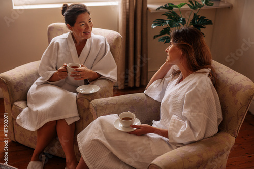 Two women waiting for their spa treatment