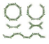 Vector, decorative big element set. Eucalyptus green Leaves round Wreath, greenery branches, garland, border, frame. Elegant designer watercolor objects. Isolated editable laurel foliage illustration - 187904805