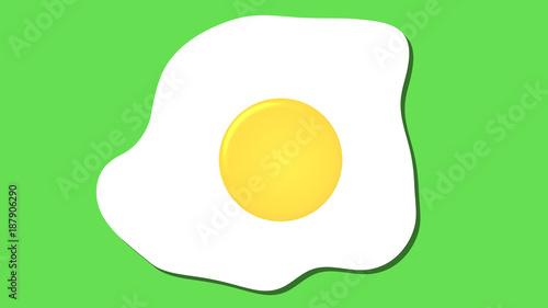 Leinwandbild Motiv fried egg icon, cartoon food graphic pink