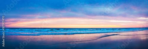 Leinwanddruck Bild Costa de la luz Panorama Sonnenuntergang am Atlantik