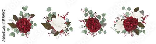 Fridge magnet Vector floral bouquet design: garden red burgundy rose white peony flower amaranthus Eucalyptus branch greenery leaves berry. Wedding vector invite card Watercolor designer editable element set bundle