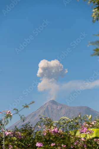Papiers peints Bleu jean Powerful explosion of volcano called Fuego, Elevation: 3.763 m in Guatemala, Central America.
