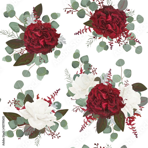 Vector Seamless floral pattern design drawn in watercolor style: garden white peony, burgundy red Rose flowers, seeded Eucalyptus branch, green fern greenery leaves. Bohemian romantic background print - 187910615