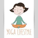 Cute girl yoga exercising.