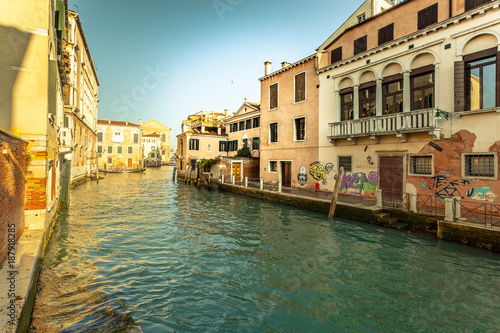 Venice VENICE, ITALY - JANUARY 02 2018: Venetian canal with colorful houses