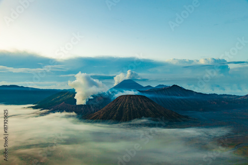 Fotobehang Beige Mount Bromo volcano (Gunung Bromo), semeru and Batok during sunrise from viewpoint on Mount Penanjakan, in East Java, Indonesia.