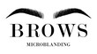 Beautiful hand drawing eyebrows for the logo of the master on the eyebrows and microblading master. Business card template.