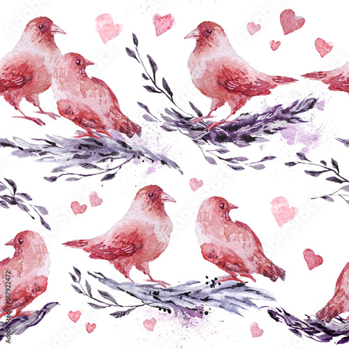 Watercolor hand drawn artistic seamless pattern with painted elements - birds and brunches. Good for Valentine day decoration design, wedding invitations, cards, posters, prints. - 187922472