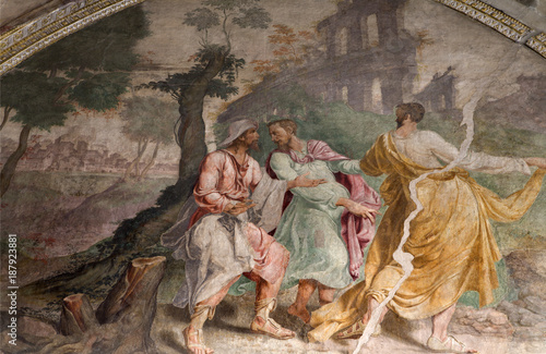 Foto Murales  Milan - Jesus and disciple on the way to Emausy - fresco from church