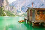 Braies Lake in Dolomiti region, Italy