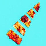 Slice of pizza. Fast Food Art Flat lay minimal trends - 187925681