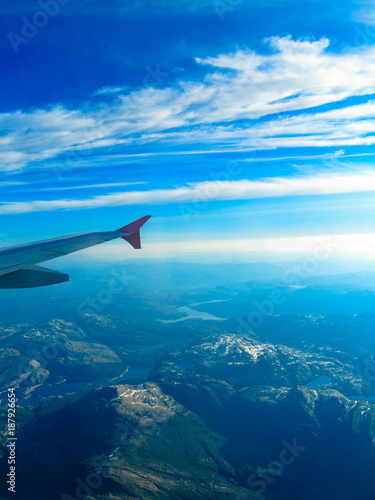 Beautiful sky and land view from plane - 187926654