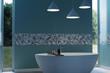 3d rendering of cyan modern bathroom with free standing bathtub