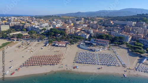 Fotobehang Groen blauw Beautiful aerial view of Soverato coastline and beaches in summer, Calabria - Italy