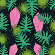 Cotton fabric seamless pattern tropical flower background