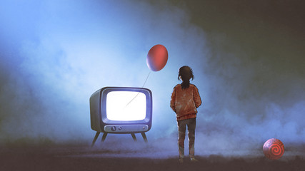 girl looking at red balloon floating coming out of television on dark background, digital art style, illustration painting © grandfailure