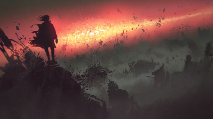 end of the world concept of the man on ruined buildings looking at apocalyptic explosion on the earth, digital art style, illustration painting © grandfailure