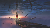 surreal scenery of upside down world with a man on the old bridge looking at sunset light in the sea above the sky, digital art style, illustration painting - 187933059