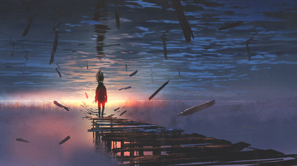 surreal scenery of upside down world with a man on the old bridge looking at sunset light in the sea above the sky, digital art style, illustration painting © grandfailure