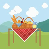 picnic basket with snack design - 187933291