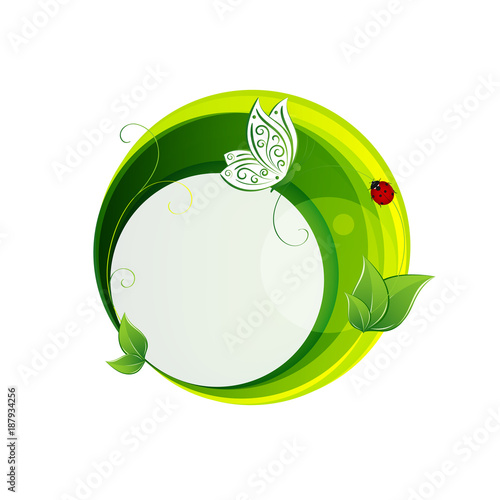 Abstract green banners with leaf and butterfly. - 187934256