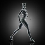 3D muscular female in walking pose