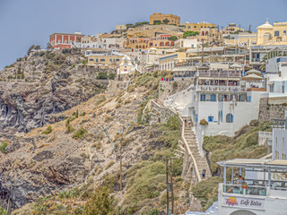 Buildings in the village of Oia on Santorini in the Greek Islands