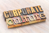 corporate culture word abstract in wood type - 187943825