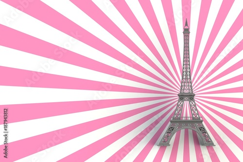 Gray eiffel tower on striped pink background, 3D rendering - 187943812