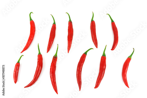 Foto op Canvas Hot chili peppers Red hot chili pepper isolated on white background