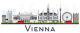 Fototapety Vienna Austria City Skyline with Gray Buildings Isolated on White Background.