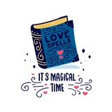 Template design banner with doodle book. It's magical time poster with cute book love spells.  Illustration for love invitstion for happy valentine day. Vector - 187953433
