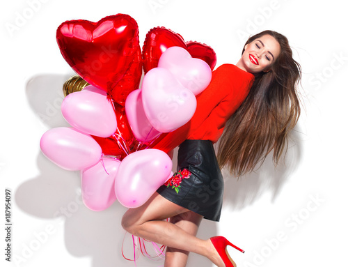 Foto op Aluminium Kasteel Valentine's Day. Beauty girl with colorful air balloons having fun, isolated on white background