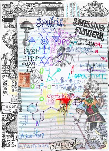Papiers peints Imagination Background with alchemic draws and tarots