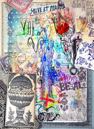 Foto op Canvas Imagination Graffiti,disegni,manoscritti e collage con simboli alchemici,astrologici,chimici ed esoterici