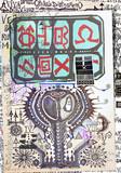 Misteriosi collage con schizzi,manoscritti,disegni,simboli esoterici,astrologicici e alchemici