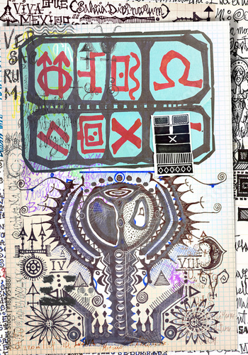Staande foto Imagination Misteriosi collage con schizzi,manoscritti,disegni,simboli esoterici,astrologicici e alchemici