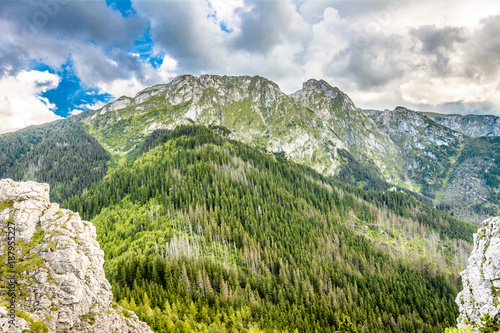 Panorama of mountains, spring landscape, mountain range covered