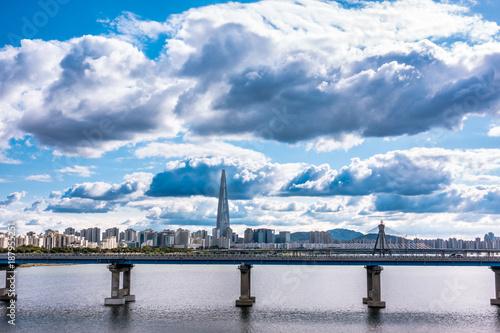 Foto Spatwand Seoel A cityscape view of Seoul Han River.