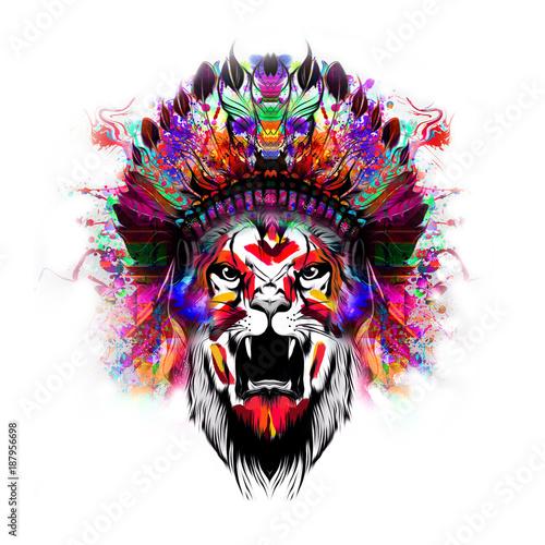 Fotobehang Reznik голова льва дизайн футболки