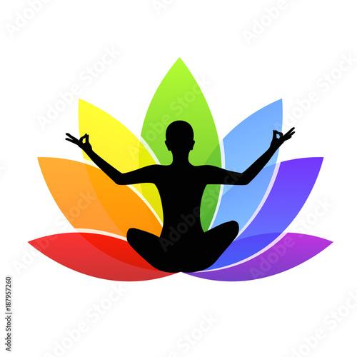 Obraz na płótnie sitzend meditieren lilie in regenbogenfarben