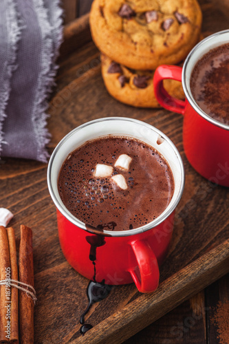Deurstickers Chocolade Homemade Hot Chocolate With Marshmallow