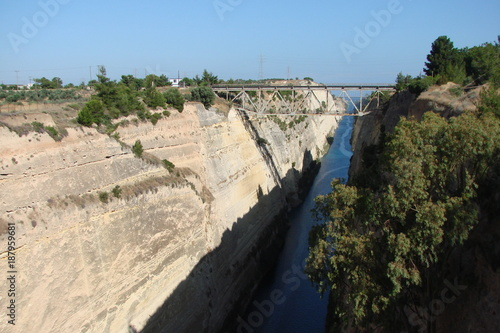 Keuken foto achterwand Beige The landscape of the canal between the Aegean and the Ionian Sea in southern Greece.