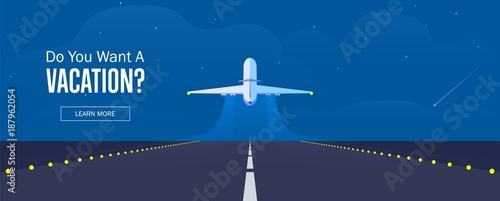 Airplane in the sky, runway and take-off plane. Banner or flyer for travel and vacation design. Starry night sky. Vector illustration. © afendikoff