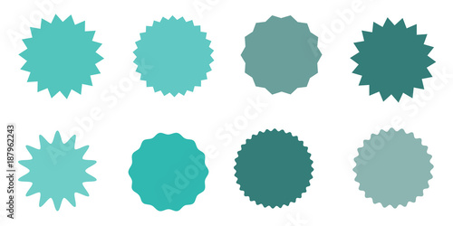 Set of vector starburst, sunburst badges. Vintage labels. Colored stickers.  A collection of different types and colors icon. - 187962243