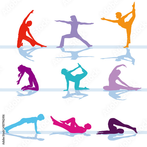 Fotobehang Fitness Gymnastik Fitness Training illustration