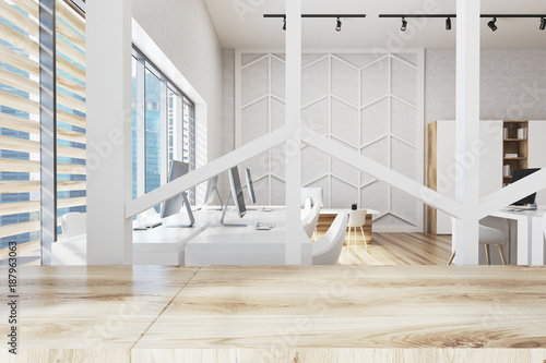Wooden office with a pattern wall