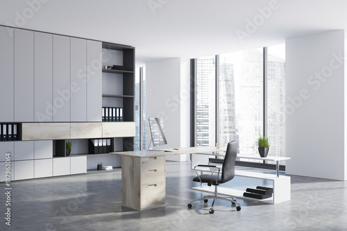 CEO office with a bookcase